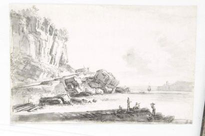 Ecole Française du XVIIIème siècle Marine Lavis gris 19,5 x 30,5 cm Petits manques...