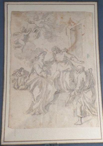 École ITALIENNE vers 1700 La Visitation Plume et encre brune sur traits de crayon...