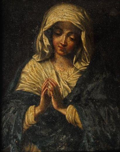 D'après Sassoferrato (Giovanni Battista Salvi) Vierge aux mains jointes. Huile sur...