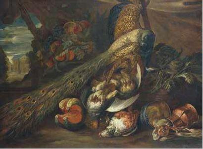 Suiveur de Frans Snyders, école FLAMANDE vers 1700 Composition aux perdreaux, paon...