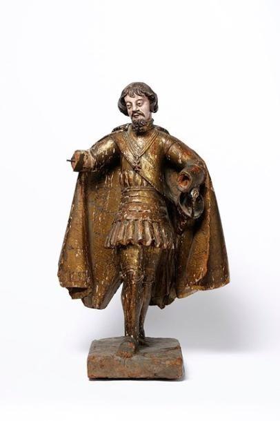 Sculpture en bois polychromé et doré figurant...