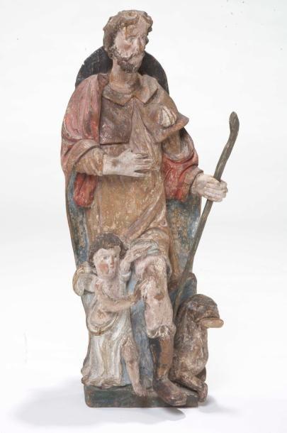 Groupe en bois sculpté polychrome présentant...
