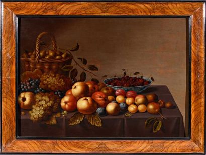 Floris van SCHOOTEN ( ? 1585 - Haarlem 1656) Corbeille de poires avec des raisins...