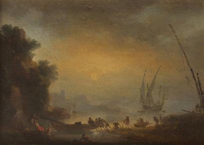 École FRANÇAISE du XVIIIe siècle, entourage de Joseph VERNET Bord de mer Papier marouflé...