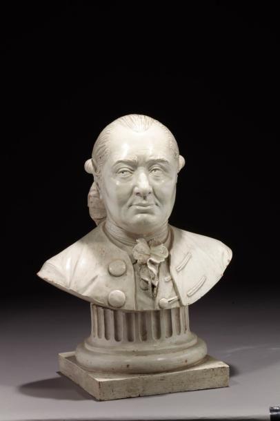 Alberic GRAUPENSPERGER (actif à la fin du XVIIIe siècle) Buste en terre cuite relaquée...