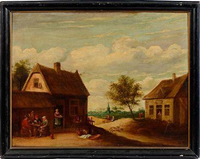 École FLAMANDE du XVIIe siècle, entourage de Thomas van APSHOVEN Extérieur de taverne...