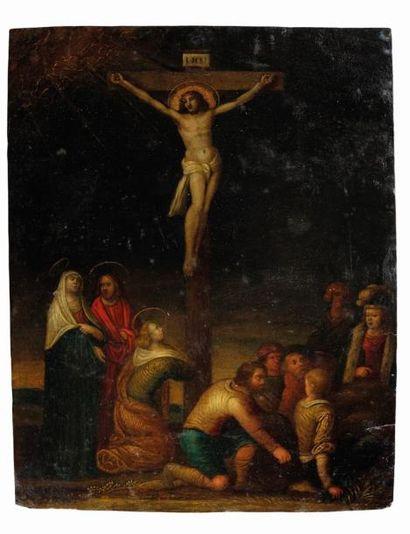 Ecole française du XVIIe siècle (?) Le Seigneur sur la Croix. Huile sur cuivre 27...
