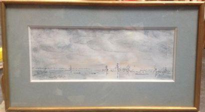 Ginette SIGNAC (Antibes 1913-1980) Marine Plume et encre noire, lavis noir et crayons...