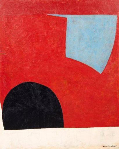 Serge POLIAKOFF (1900-1969) Forme bleue sur fond rouge, 1950 Forme bleue sur fond...