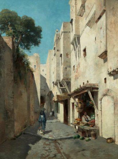 Emile REGNAULT DE MAULMAIN (1836-1897) MARCHAND DE FRUITS DANS UNE RUELLE AUX REMPARTS...