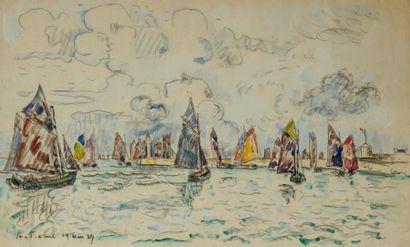 Paul SIGNAC (Paris 1863 - 1935) Audierne Crayon et aquarelle 27,7 x 44 cm Localisé...