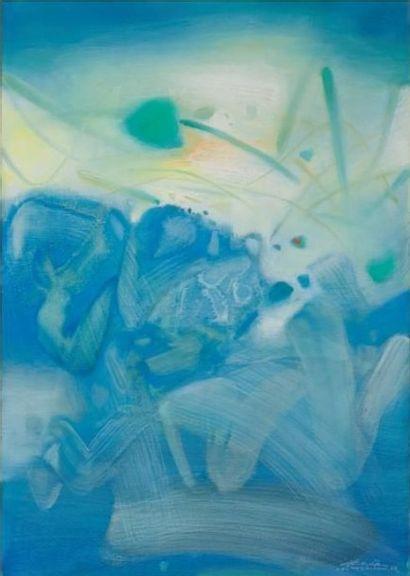 CHU TEH-CHUN (1920-2014)<br>Atmosphère bleue III, 1988