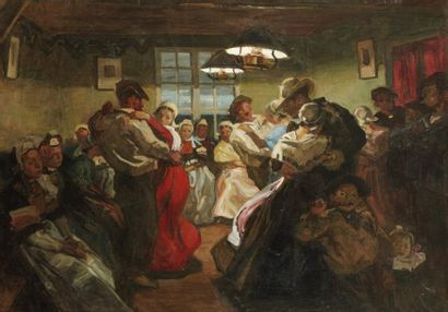 Lucien SIMON (Paris 1861 - Combrit 1945) Le bal Huile sur toile d'origine 63 x 92...