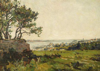 André DAUCHEZ (Paris 1870 - 1948) La Trinité sur mer Huile sur panneau 34 x 46 cm...