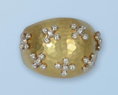 Belle bague dôme en or jaune 18 k, à surface...