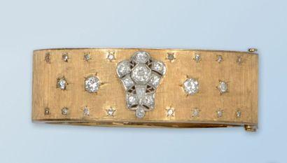 Bracelet semi-rigide en or jaune 18 k, surface...