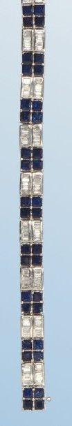 Bracelet souple en or gris 18 k, à décor...