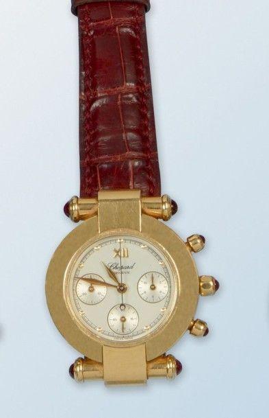 Montre chronographe en or jaune 18 k de marque «CHOPARD» modèle «Impériale». La...