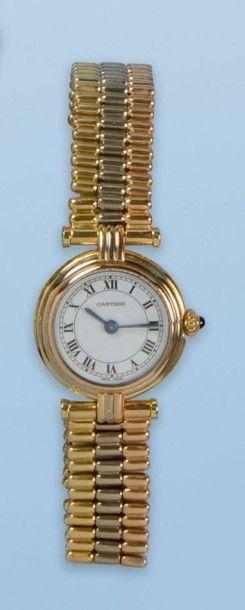 Bracelet montre pour dame en trois ors 18...