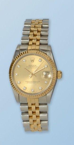 Bracelet montre en acier et or jaune 18 k,...