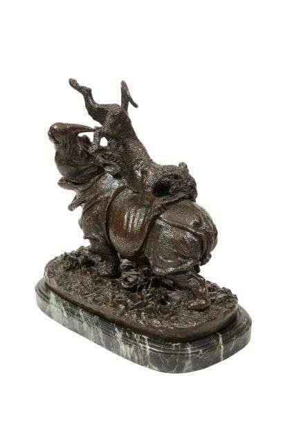 Christophe FRATIN (1801-1864)<br>Rhinocéros attaqué par un tigre, 1836<br>Bronze