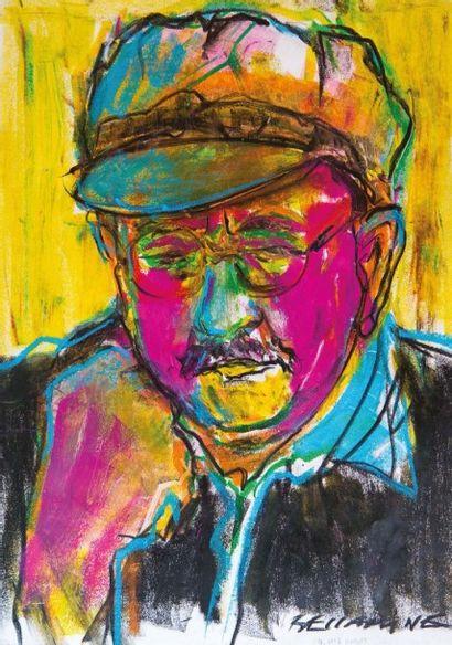 Fouad BELLAMINE (né en 1950) Estimation : 43000-54000 dirham Portrait Miloud Labied,...