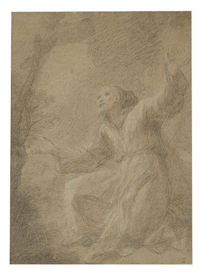Ecole italienne du XVIIe siècle Saint François en extase Pierre noire et rehauts...