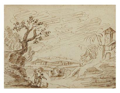Ecole italienne du XVIIe siècle Paysage Plume et encre brune 10 x 14 cm BBA