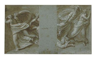 Attribué à Bernardino CAMPI (1522-1591) Projet de décor mural Plume, lavis gris rehaussé...