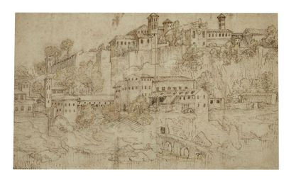 Attribué à Willem II van NIEULANDT (Anvers vers 1584 - Amsterdam 1635/36) Vue d'une...