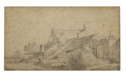 Attribué à Salomon van RUYSDAEL (c.1602 - 1670) Chaumière Crayon noir et lavis gris...