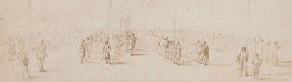 Jacques d'ARTOIS (1613 - 1665) Paysage Crayon noir, lavis brun, gris et indigo 21...