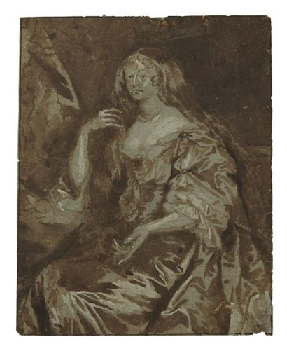 École Flamande du XVIIe siècle Portrait de femme d'après Van Dyck Lavis brun sur...