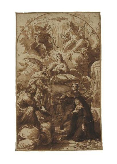 École Flamande du XVIIe siècle Saints intercédant auprès de la Sainte Trinité Plume...