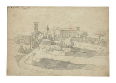 École FRANÇAISE vers 1700 Vue de Sainte-Sabine sur le mont Aventin à Rome Plume et...