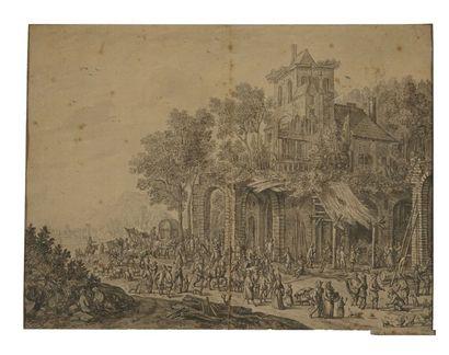 Hendrik SOUKENS (Zaltbommel 1680 - 1711) Scène de village animée Plume et encre noire,...