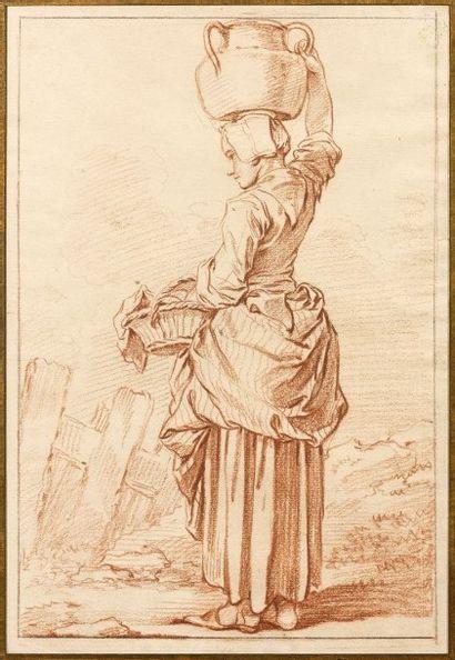François BOUCHER (Paris 1703 - 1770) «La laitière» Sanguine, margé au crayon noir...
