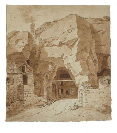 Attribué à Joseph VERNET (Avignon 1714 - Paris 1789) Vue animée d'une maison troglodyte...