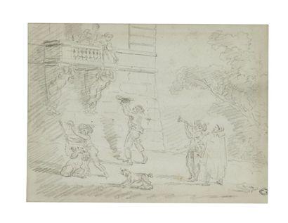 Hubert ROBERT (Paris 1733-1808) La sérénade Verso: cariatide Crayon noir 15 x 21...