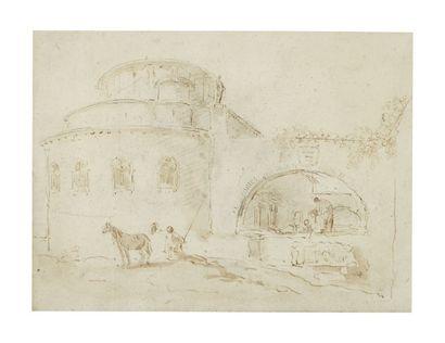 Hubert ROBERT (Paris 1733-1808) Personnages derrière l'abside d'une église Plume...