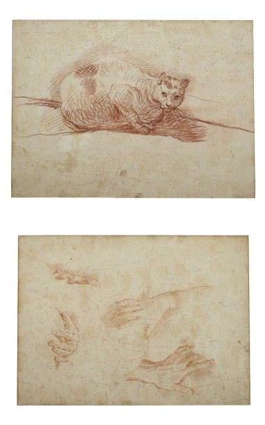 École FRANÇAISE du XVIIIe siècle Feuille d'étude recto-verso: un chat et études de...