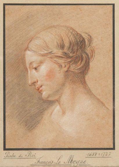 Ecole française du XVIIIème Portrait de femme Crayon noir et sanguine 24 x 18 cm...