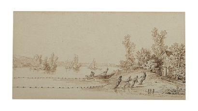 École FRANÇAISE du XVIIIe siècle Scènes de pêche: une paire Plume et encre brune...
