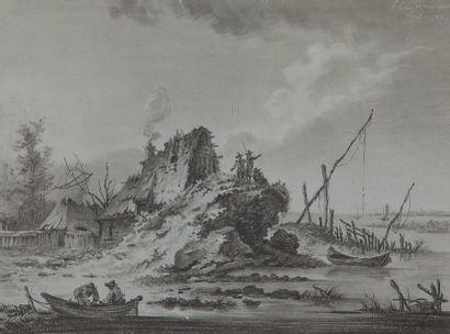 Franz Edmund WEIROTTER (1733 - 1771) Deux paysages de bords de mer animés Plume et...