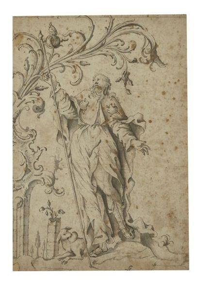 ECOLE AUTRICHIENNE DU XVIIIE SIECLE Une paire: Saint Jacques; Pèlerin ( ?) de Saint-Jacques...