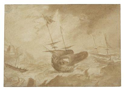Ecole Hollandaise vers 1700 Bateaux dans la tempête Lavis de bistre 18 x 25 cm B...
