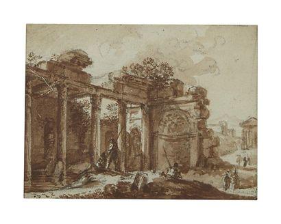 René Louis Maurice BEGUYER de CHANCOURTOIS (Nantes 1757 - Paris 1817) Vue de Rome...