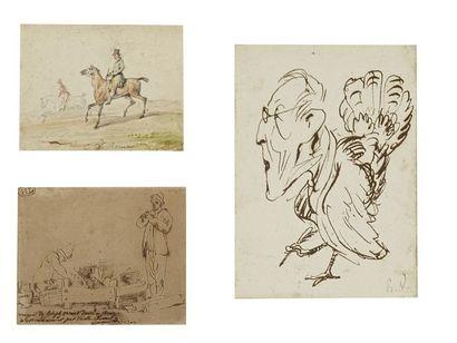 Trois dessins sur un même montage Emile Jean Horace VERNET (Paris 1789 - 1863)