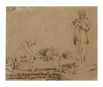 Trois dessins sur un même montage Emile Jean Horace VERNET (Paris 1789 - 1863) Portrait...