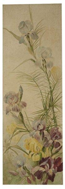 École Française du XIXe siècle Deux études de fleurs Aquarelle 91 x 30,5 cm Taches...